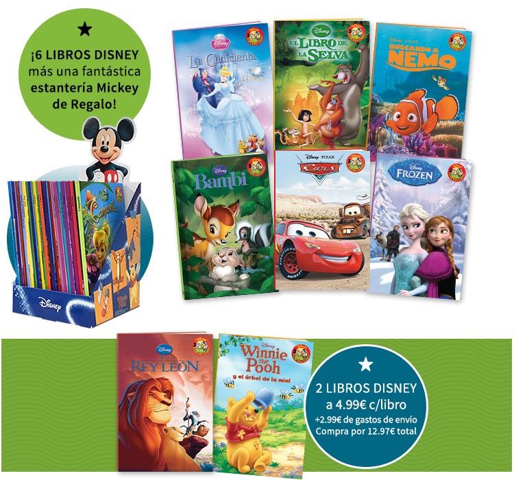 6 libros Disney y estantería de Mickey GRATIS la compra de 2 libros
