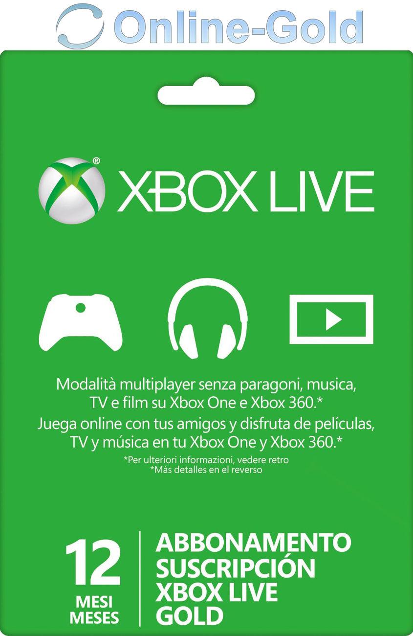 Xbox Live Gold Suscripción 12 Meses código Xbox One 360