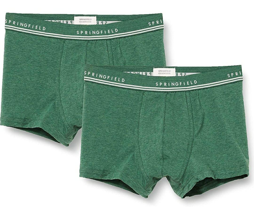 2 Bóxer Springfield color verde para adultos (Talla S)