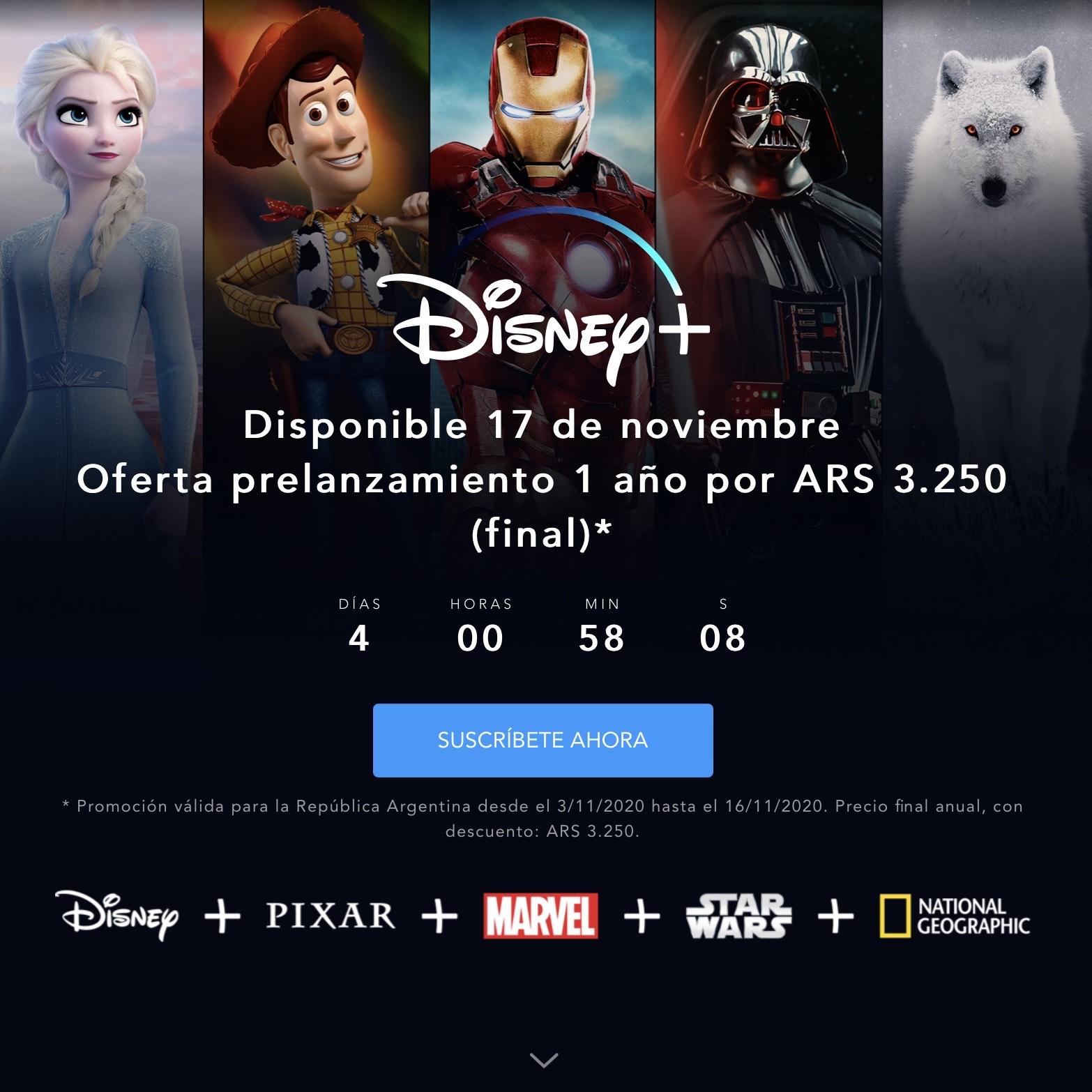 Disney+ por solo 35€ al año al contratar el preestreno en Argentina.