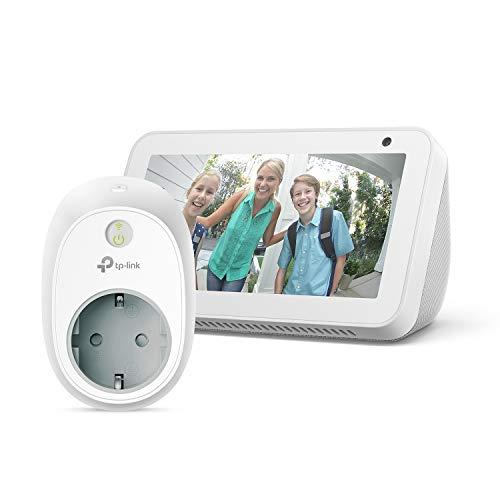 Echo Show 5, blanco/negro + TP-Link HS100 Enchufe inteligente, compatible con Alexa