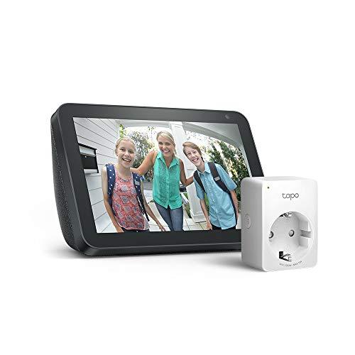 Echo Show 8, Tela de color antracita/ gris claro + Tapo P100 Enchufe inteligente, compatible con Alexa