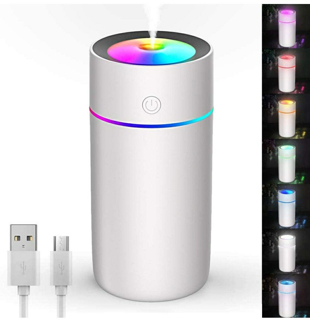 USB Humidificador Purificador de Aire Silencioso, Mini Viel Auto Humidificador 320 ml 7 colores LED Auto Apagado Sin Agua