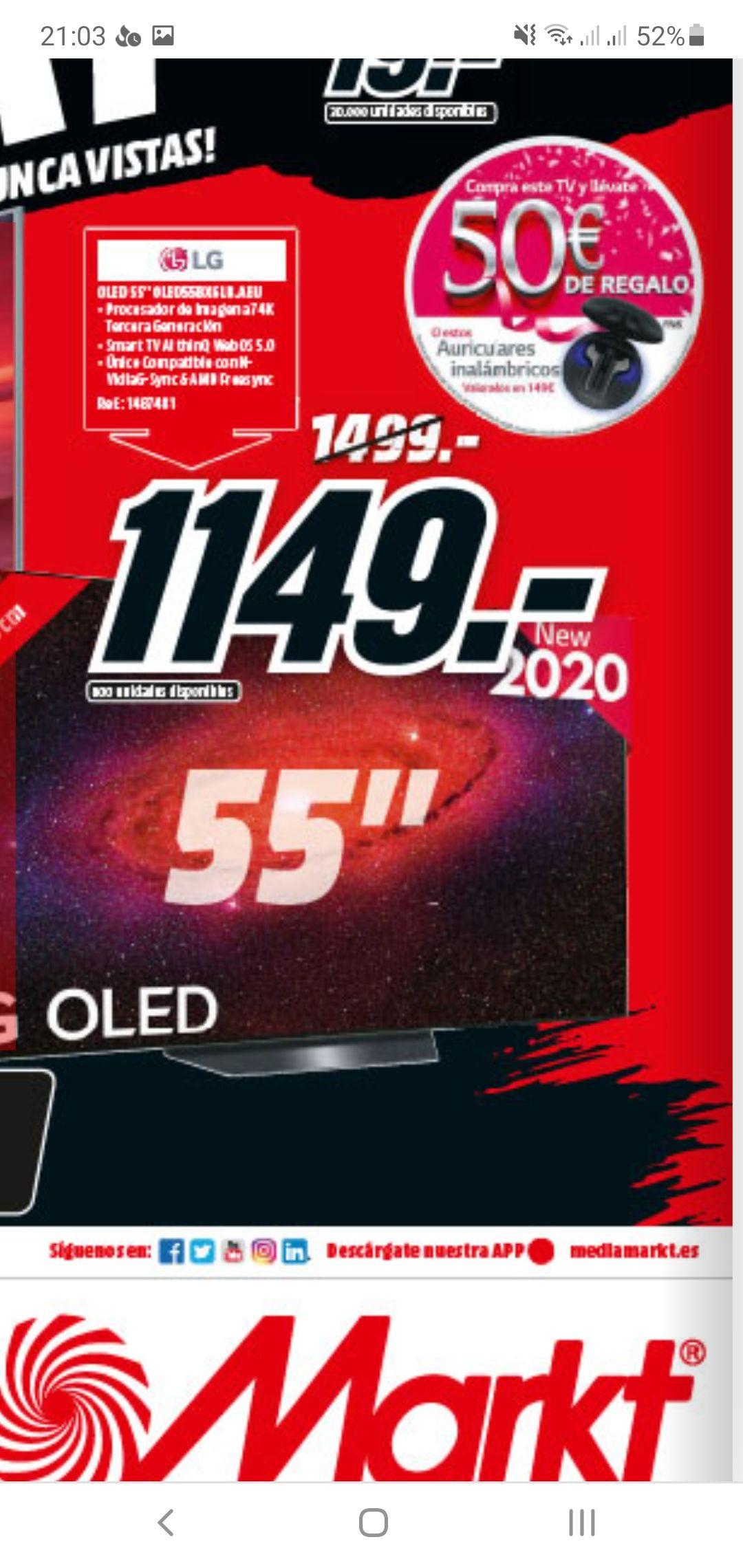 OLED55BX6 LG con reembolso de 50€