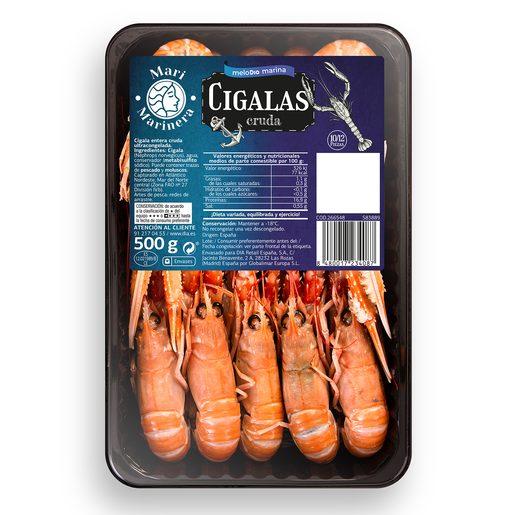 Cigalas crudas congeladas 10/12 bandeja 500 gr DIA MARI MARINERA