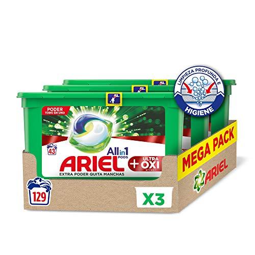 Ariel All in 1 Pods Oxi - Detergente en cápsulas para la lavadora, manchas díficiles, 129 lavados (3 x 43)