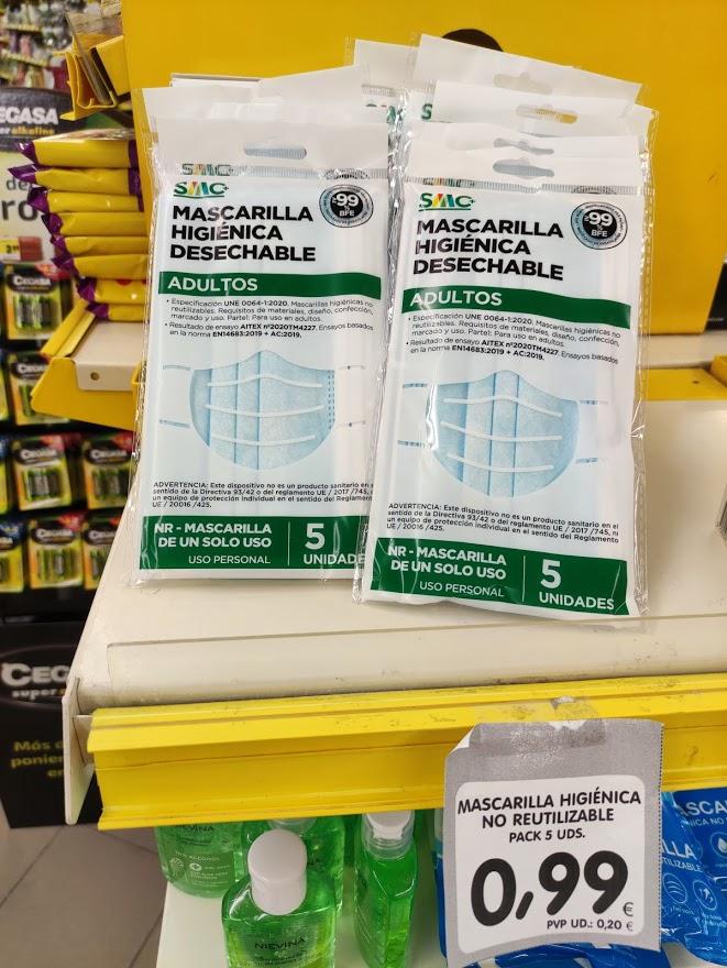 Mascarillas higiénicas certificadas (5 unidades) [Aún + baratas] Alimerka