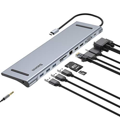Baseus 11 in 1 USB C Hub: Gigabit Ethernet, USB-C Fuente de alimentación, 3 USB 3.0, 4K HDMI, VGA, Audio Mic Port, SD/TF Lector de Tarjetas
