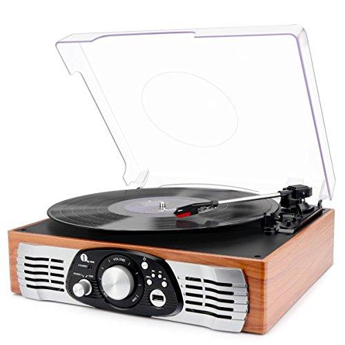 Tocadiscos estéreo de 3 velocidades con Altavoces incorporados, graba de Vinilo a MP3, Reproduce MP3, Salida RCA, Madera Natural