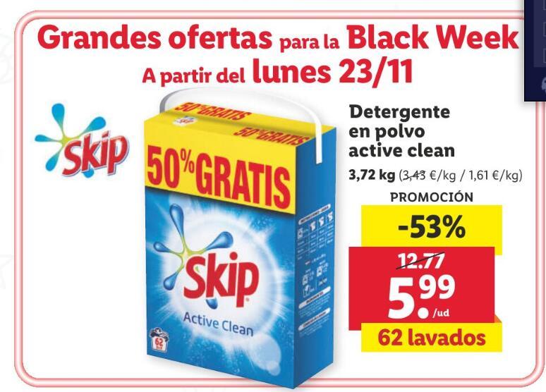 Detergente Skip en polvo 62 lavados (0,09€/dosis)
