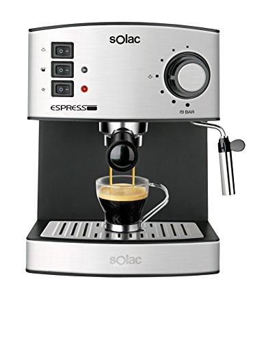 Solac CE4480 Espresso-Cafetera de 19 Bares con vaporizador, 850 W, 1.25 litros, Acero Inoxidable