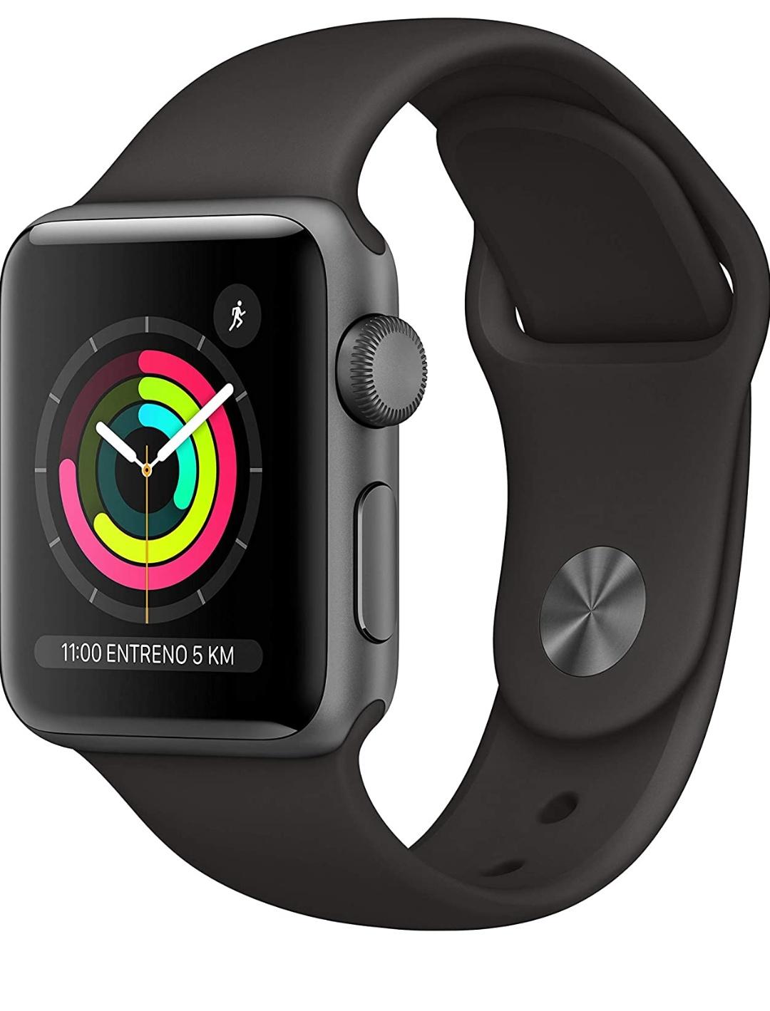 42 mm Apple Watch Series 3 GPS, Caja de aluminio en gris espacial y correa deportiva, Negro