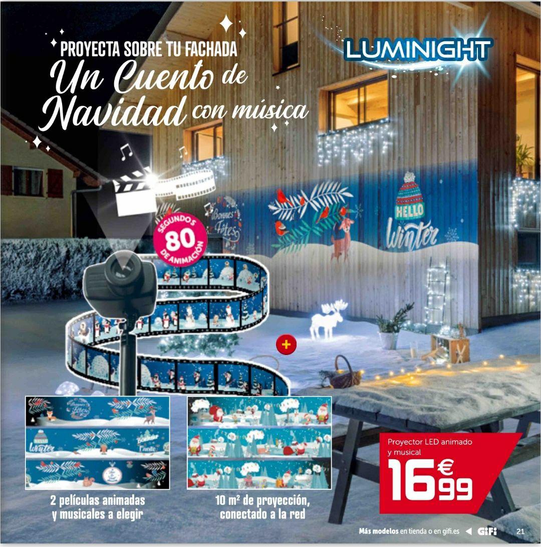 Proyector led animado y musical de Navidad y catálogo tienda Gifi