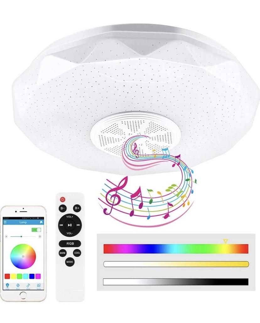 Lámpara de techo LED de 36 W, regulable, con altavoz Bluetooth 5.0 integrado, soporta la reproducción de música,