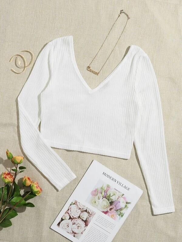 Camiseta corta tejida de canalé unicolor