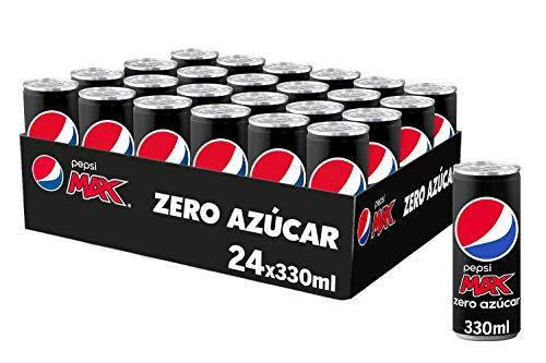 Pepsi MAX, Refresco de Cola Zero Azúcar, lata 330ml - 24 Unidades
