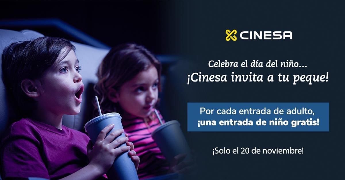 1 entrada de cine gratis de niño por cada entrada de cine de adulto