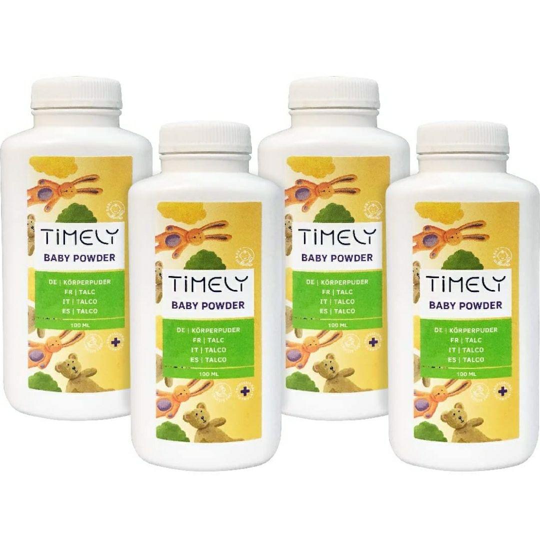 Timely - Polvos de talco para las irritaciones y la sudoración (pack de 4 x 100 g). Con compra recurrente