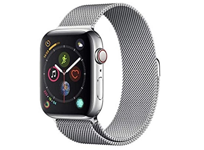 Apple Watch Series 4 (GPS + Cellular) con caja de 40 mm de acero inoxidable en plata y pulsera Milanese Loop en el mismo tono