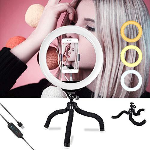 Anillo aro de luz de 10 Inch con trípode led Ring Light, 3 Colores de luz y 10 Niveles de Brillo para Selfie