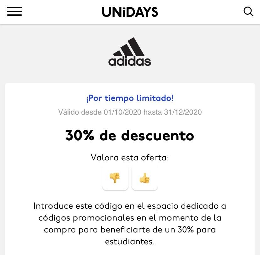 SOLO ESTUDIANTES: 30% de descuento en Adidas con UniDays.