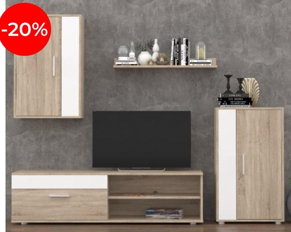 Conjunto de salón: bajo TV con cajón + dos módulos con gran capacidad de almacenaje + una estantería (2 colores)