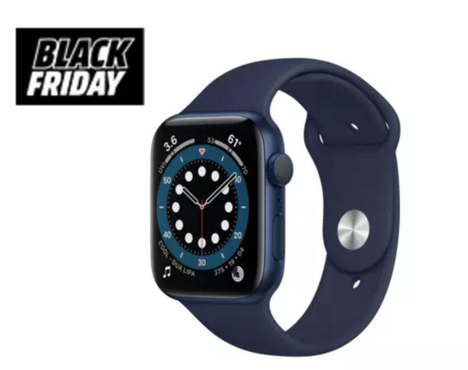 Apple Watch Series 6, GPS, 44 mm, Caja de aluminio en azul, Correa deportiva azul marino intenso *Mínimo histórico*
