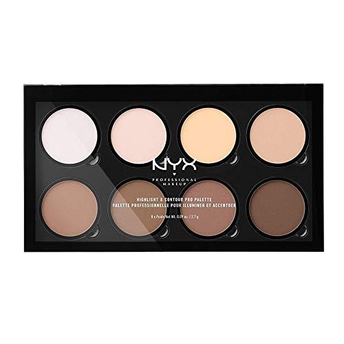 NYX Professional Makeup Paleta de contouring Highlight & Contour Pro Palette,Kit de contouring en polvo, 8 tonos de acabado mate y brillante