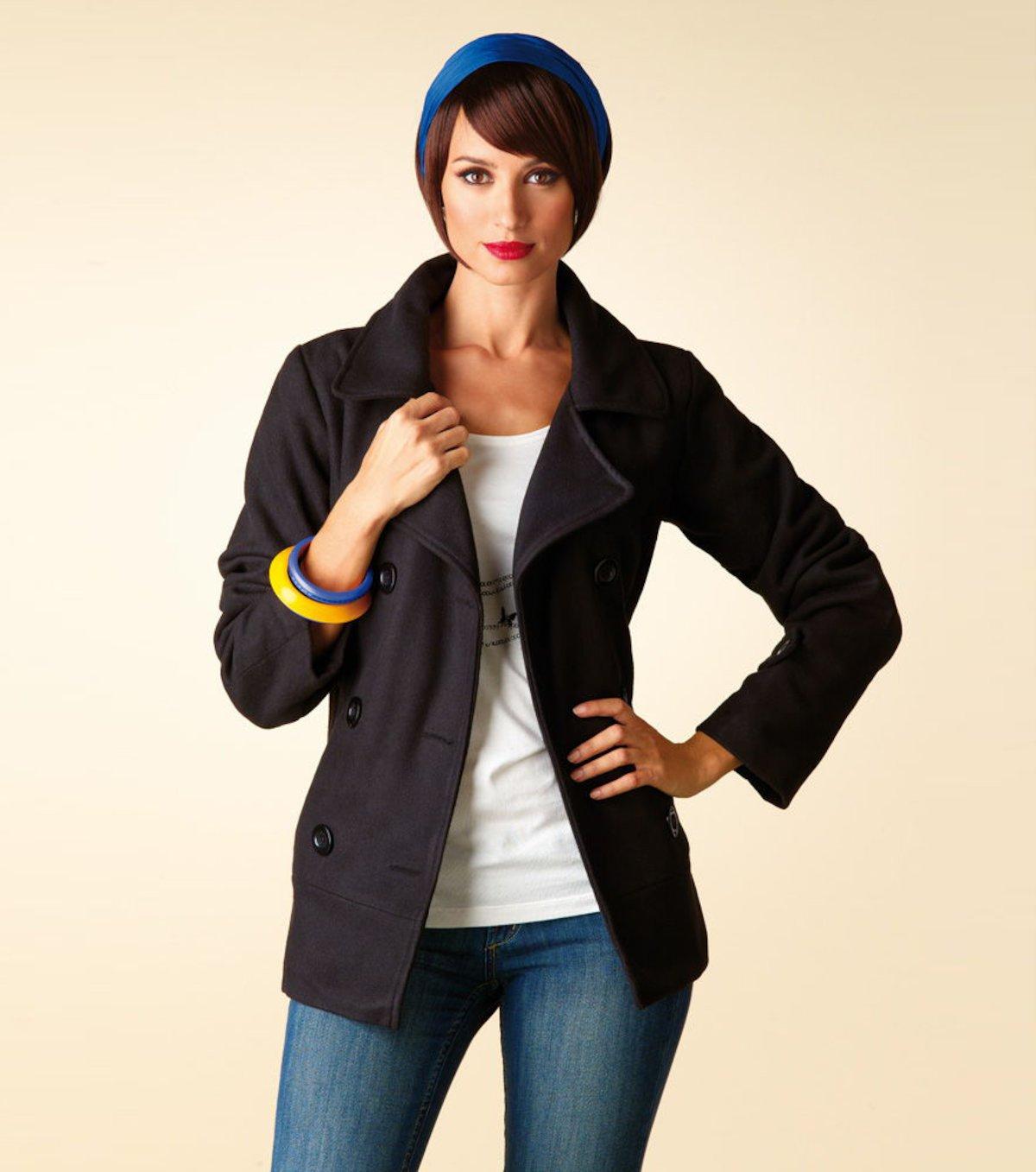 Abrigo corto mujer manga larga de paño