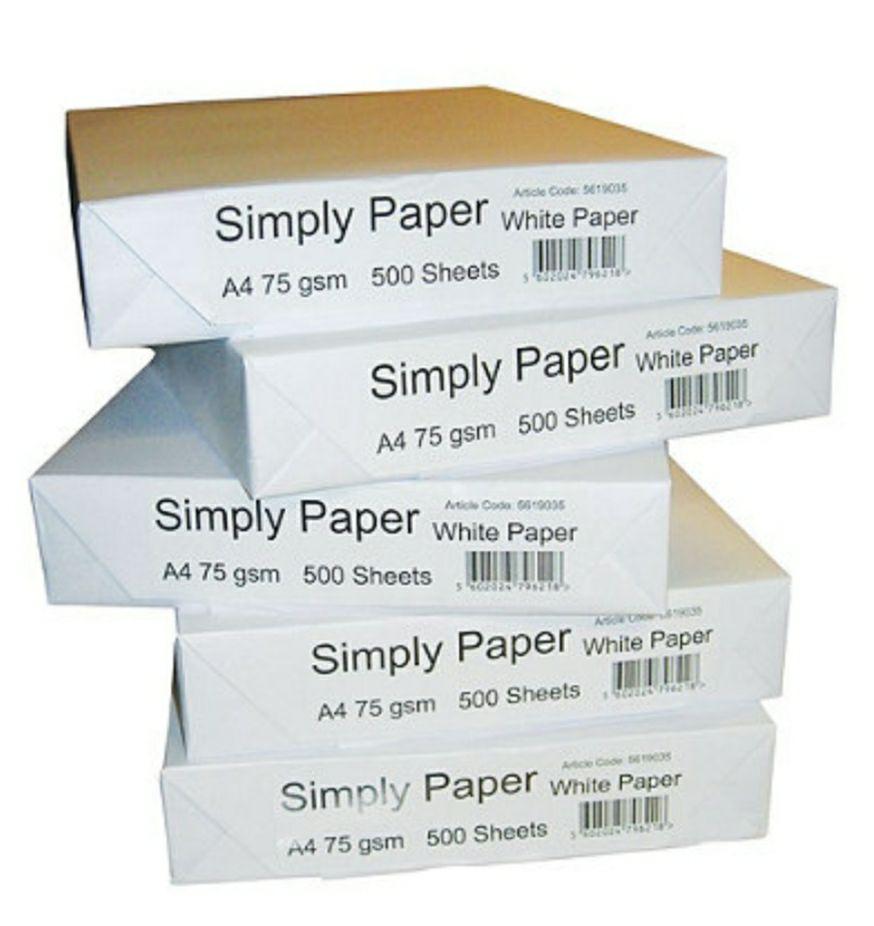 Simply Papel para Faxes, Fotocopiadoras, Impresoras Láser e Impresoras de Inyección de Tinta Blanco A4 75 g/m² 500 hojas