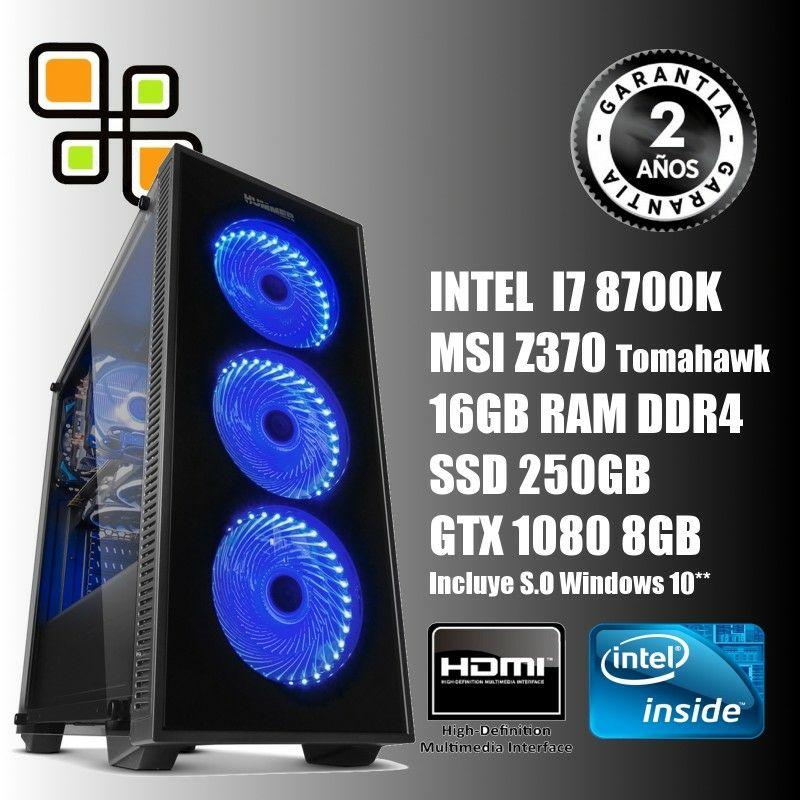 Ordenador de sobremesa Intel i7 8700K Octava Generación  Con GTX1080