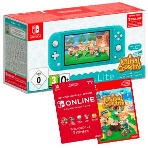 Nintendo Switch Lite Turquesa o Coral + Animal Crossing + 3 Meses Nintendo Online