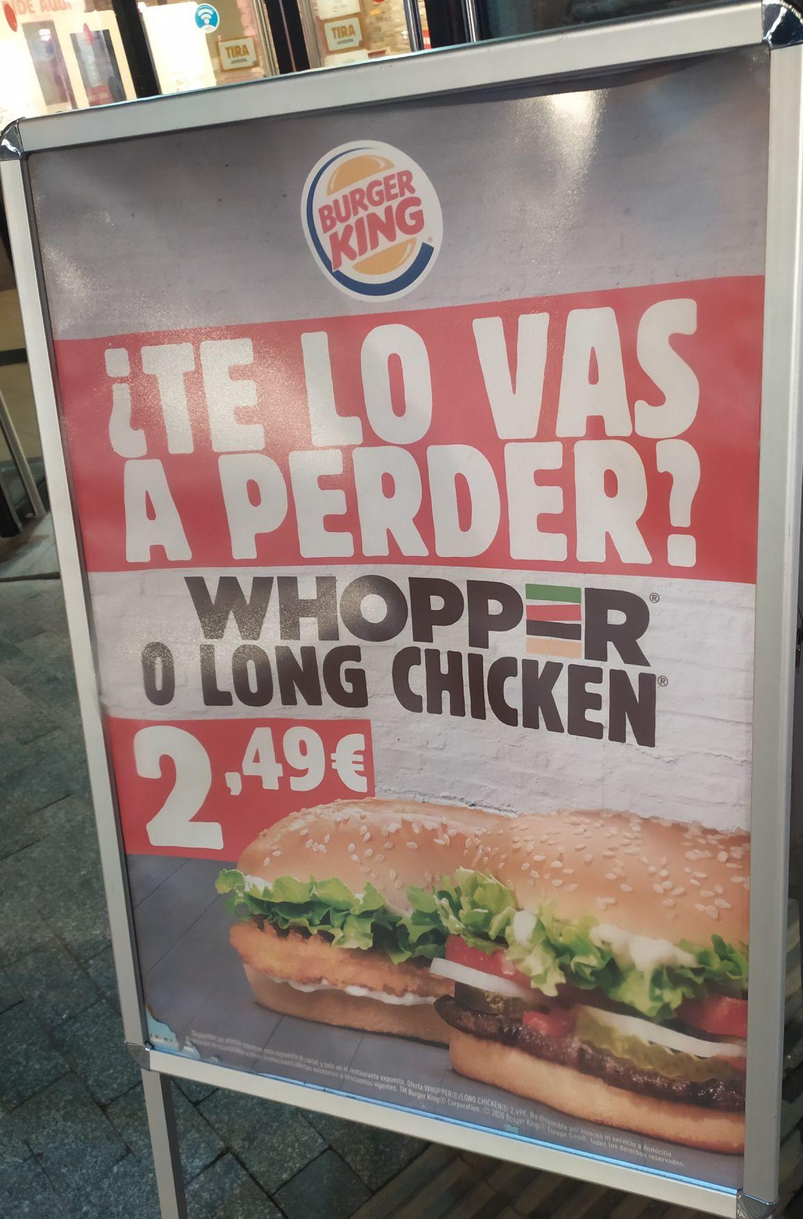 Whopper o Long Chicken 2.49