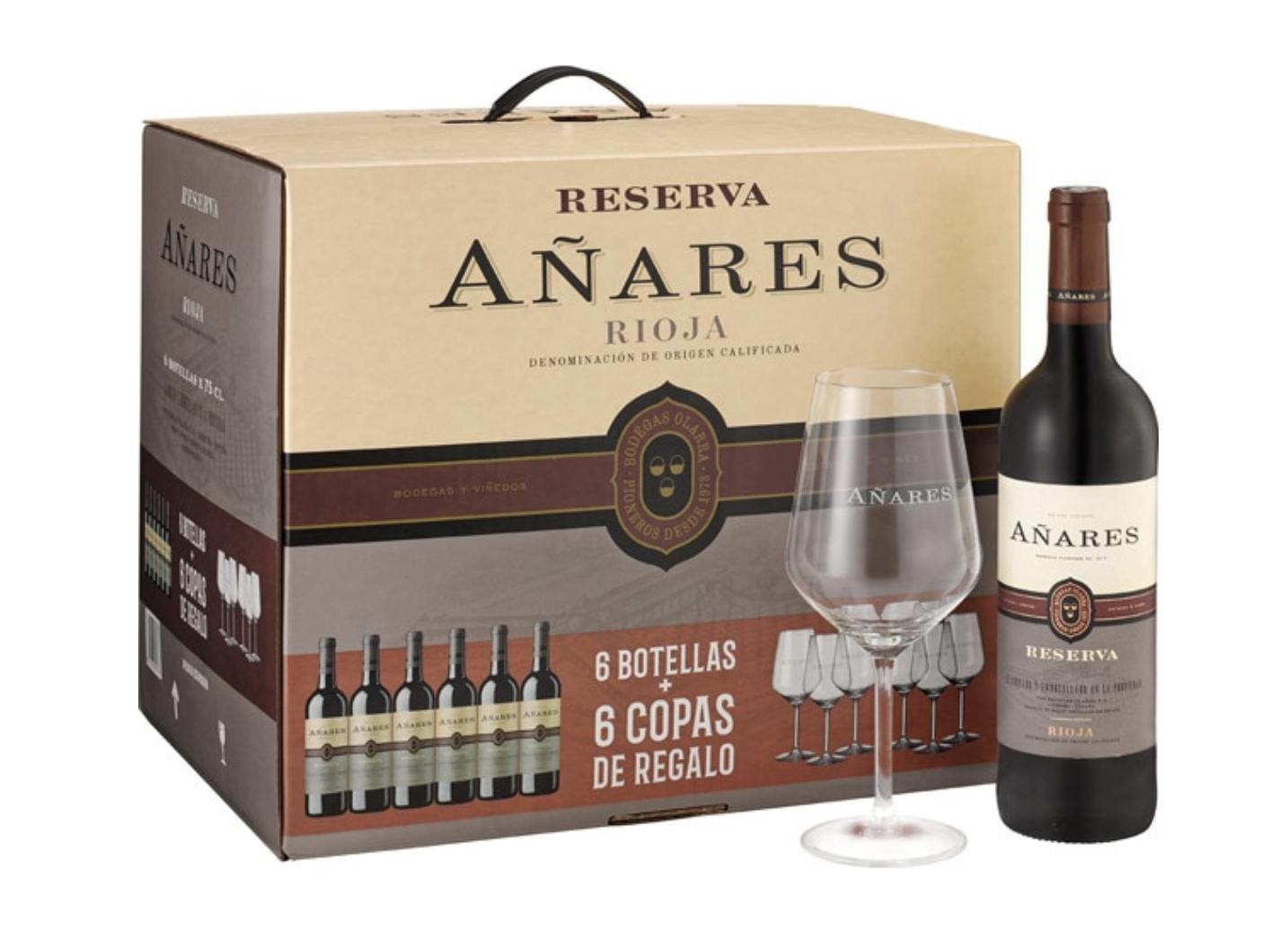 6 botellas tinto Rioja Añares Reserva + 6 copas de vino