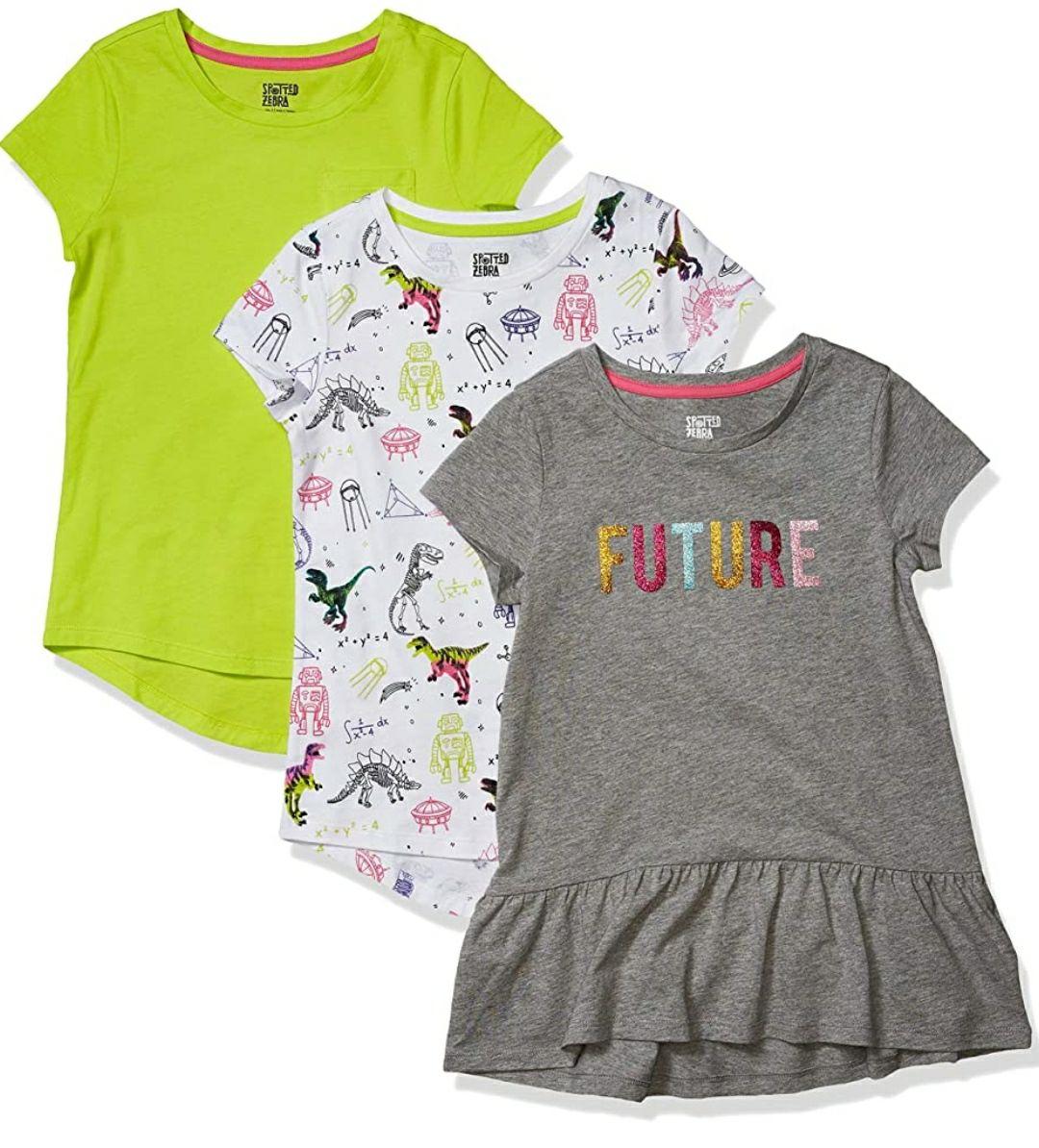 TALLA 6/7 AÑOS - Spotted Zebra Short-Sleeve Tunic T-Shirts Niñas, Pack de 3