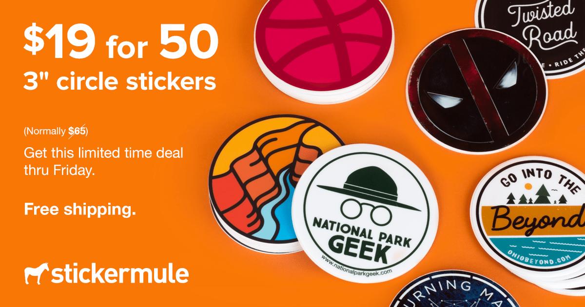 50 Pegatinas redondas personalizadas de 76mm x 76mm por 18€
