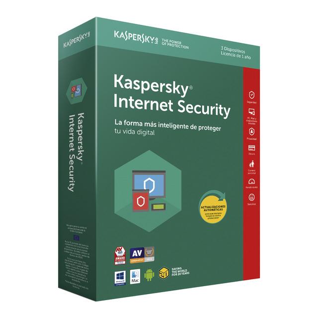 Kaspersky 2018 Internet Security 3 usuarios/1 año