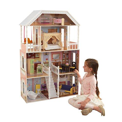 KidKraft- Savannah Casa de muñecas de madera con muebles y accesorios incluidos, 4 pisos, para muñecas de 30 cm