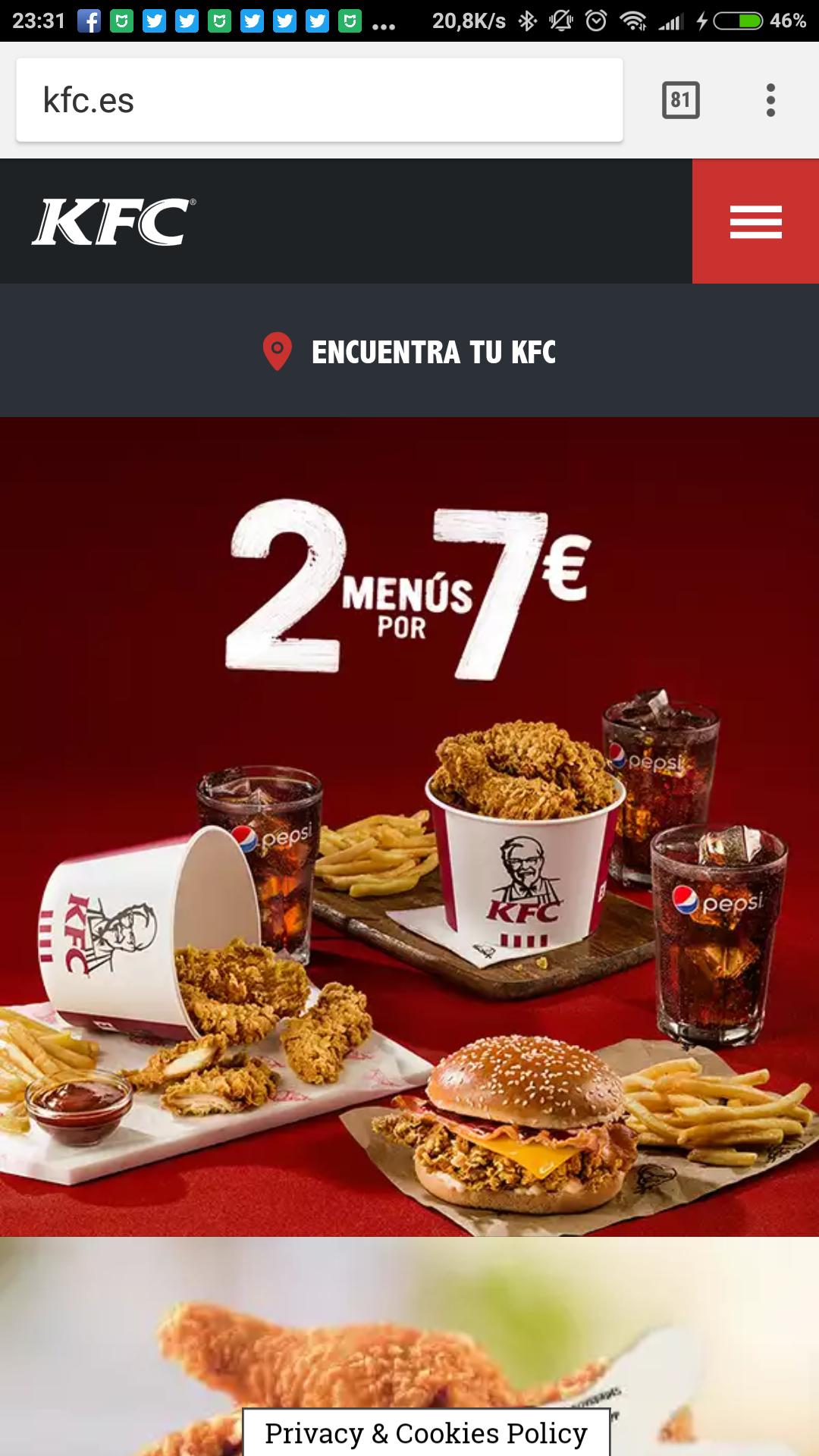 2 menús de pollo a 7 euros