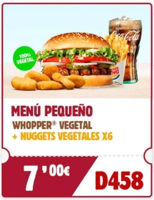 Menú pequeño whopper vegetal + 6 nuggets vegetales