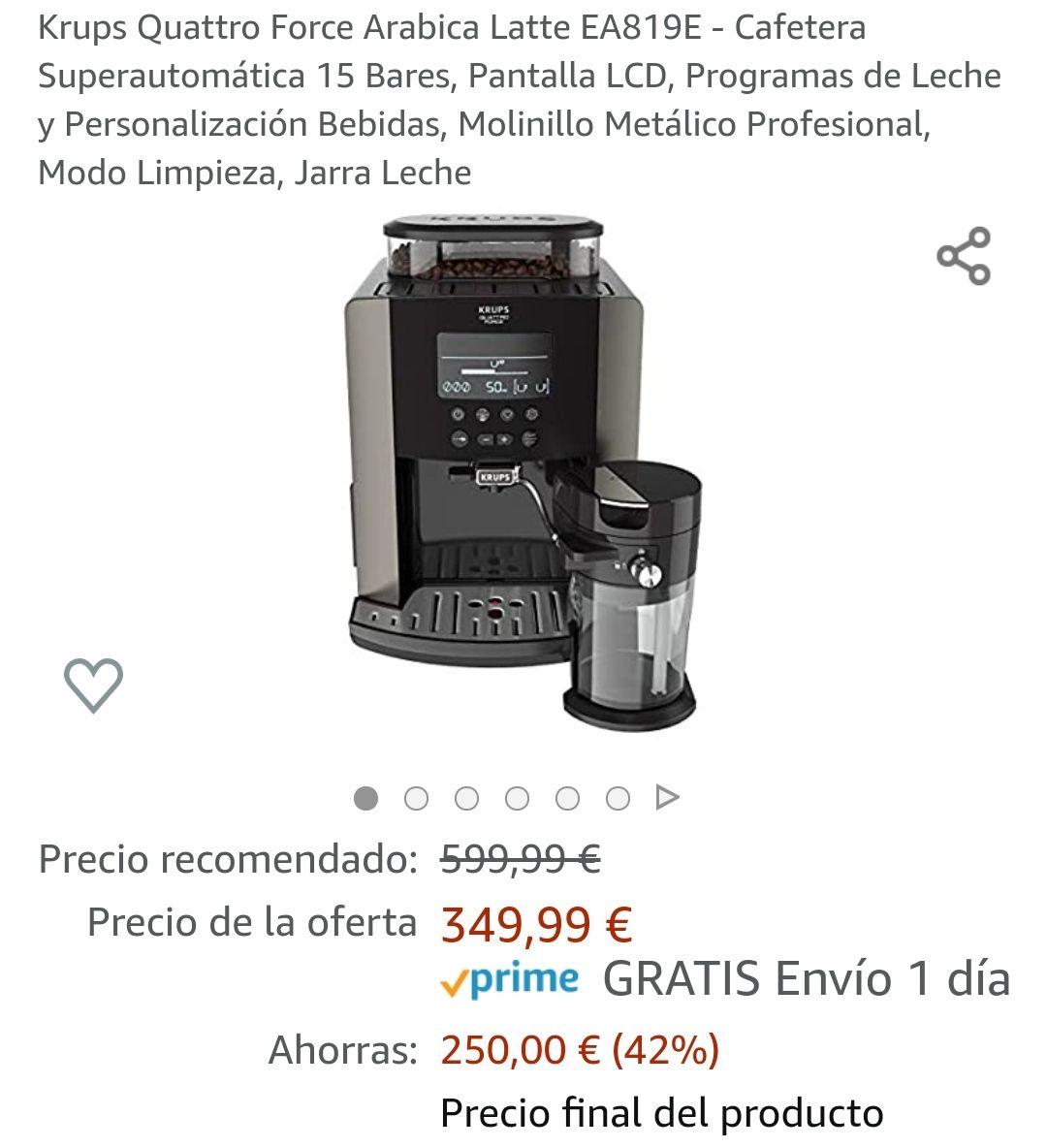 Cafetera Krups Quattro Force Arábica Latte EA819E