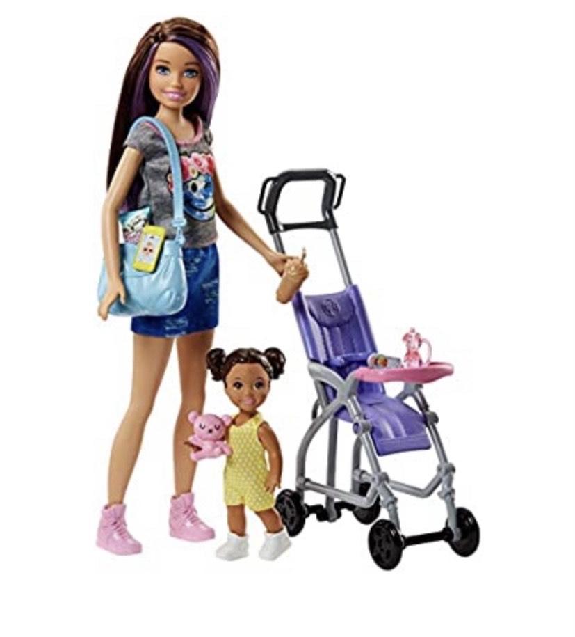Barbie - Muñeca Skipper hermana de Barbie, niñera de paseo -