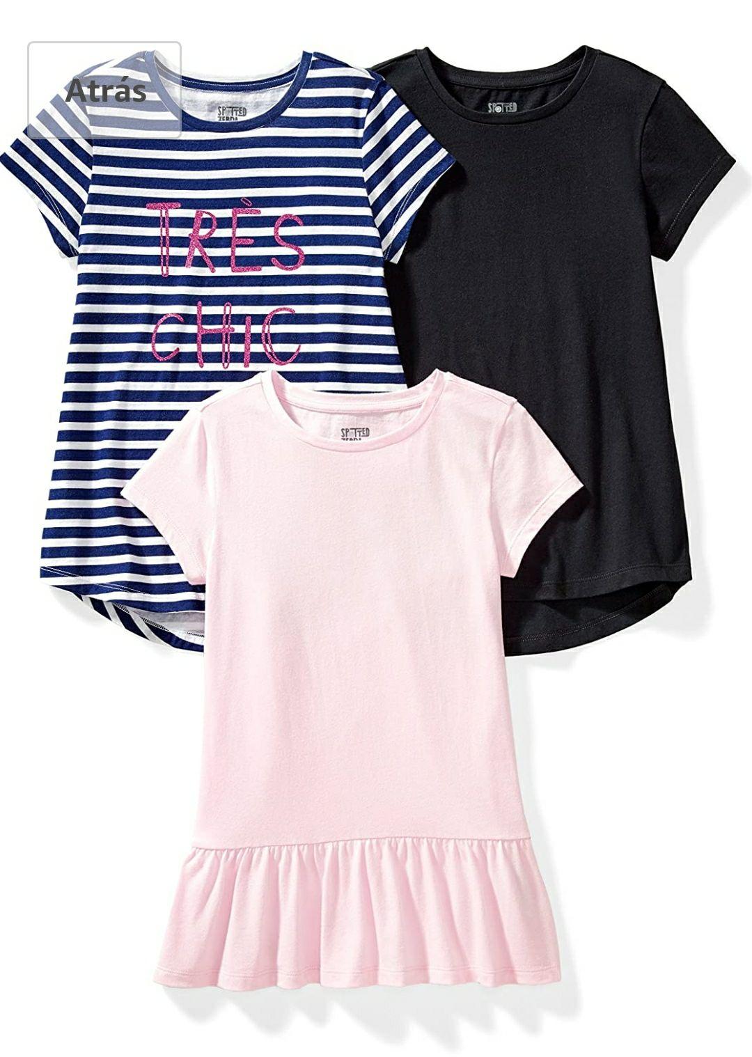 TALLA 116cm - Spotted Zebra Short-Sleeve Tunic T-Shirts Niñas, Pack de 3
