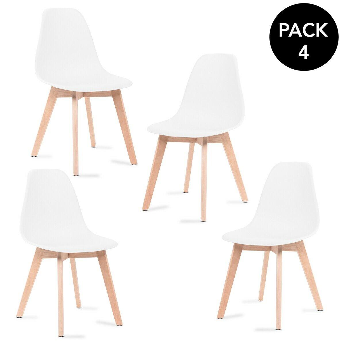Pack 4 sillas nórdicas con patas en madera (o las Tower a 56,99€)