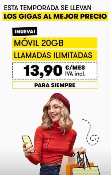 MasMóvil: 20GB+ llamadas Ilimitadas por 13,9€ para siempre por Black Friday