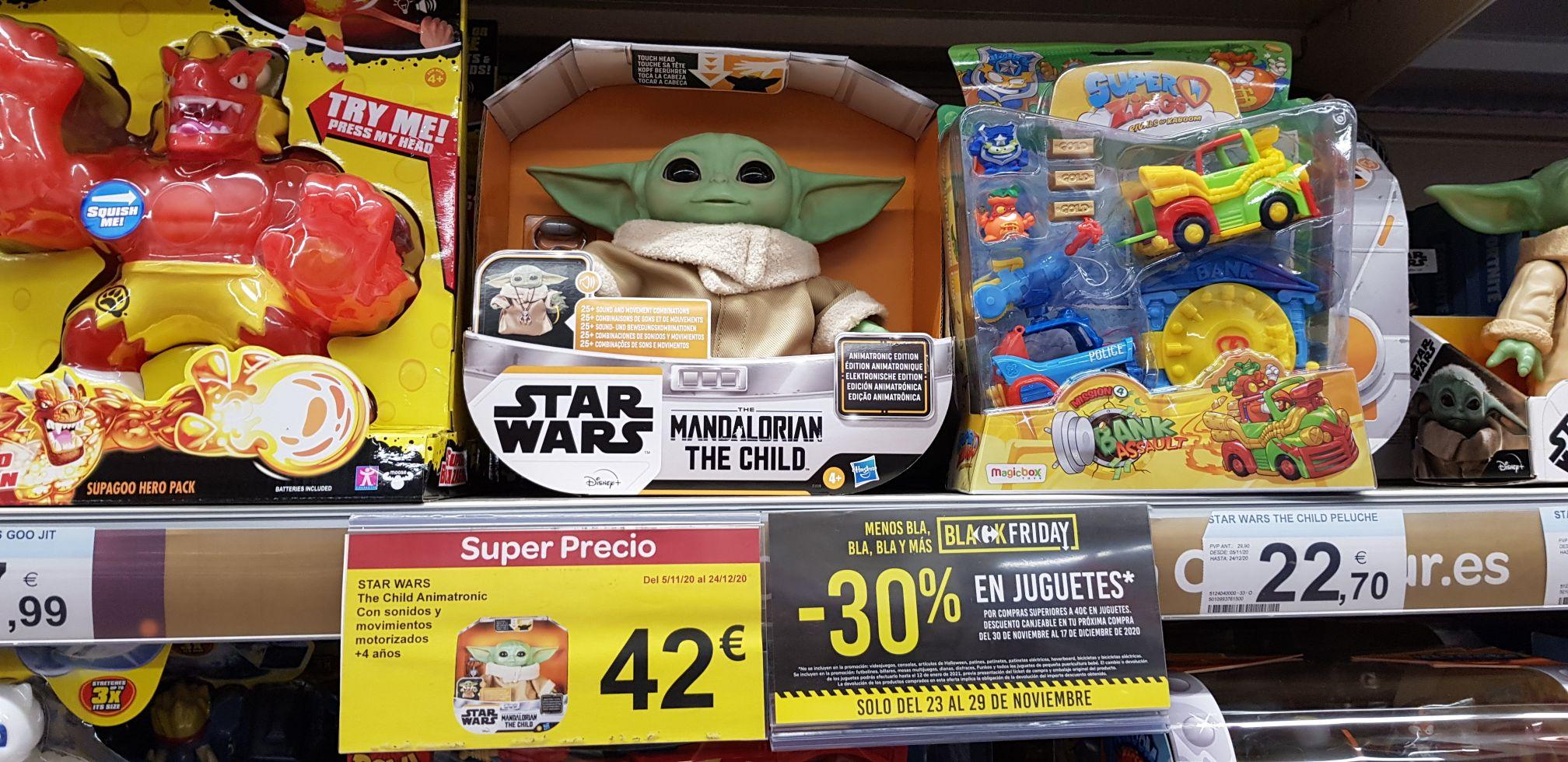 The child animatronic Baby Yoda 42 (-12€ en cupón carrefour)