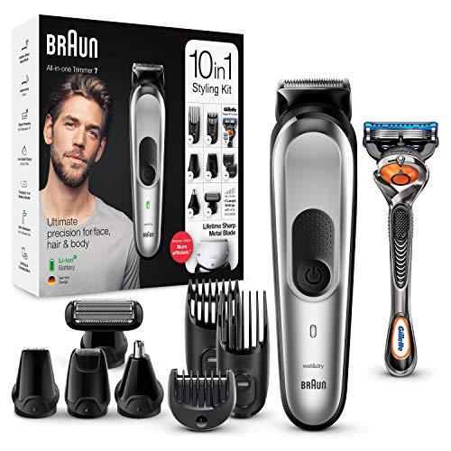 Braun MGK7220 - Recortadora 10 en 1, Máquina recortadora de barba, set de depilación corporal y cortapelos para hombre