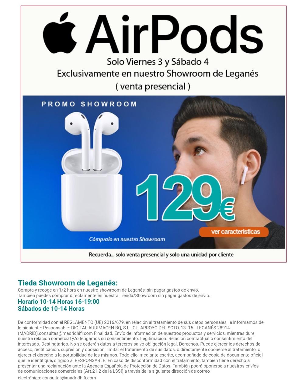 AirPods de Apple (venta tienda física en Leganés)