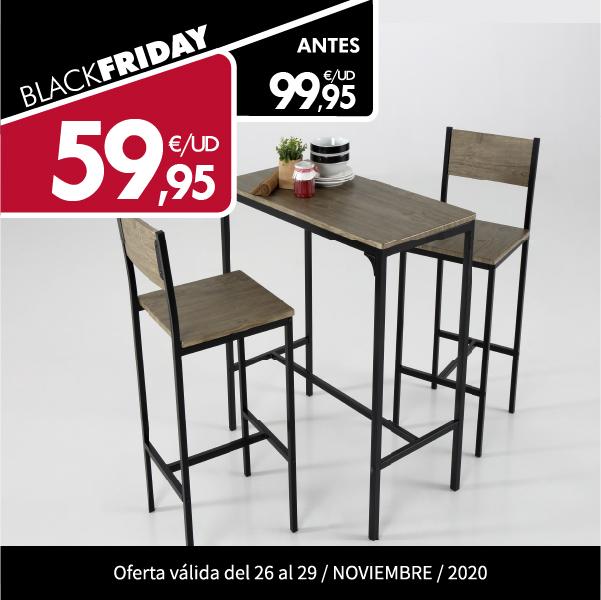 Mesa alta + dos sillas