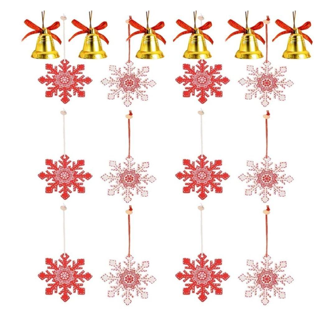 18 Piezas Ornamentos de Navidad,12 Colgantes de Madera Copo de Nieve,6 Campanas,Kit para DIY Manualidades,